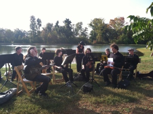 Playing at Isom's Orchard, before the dinner. October 2012